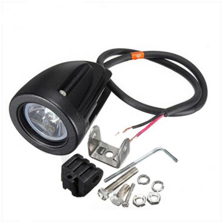 mini lampe led power 12v 10w spot noir motorkit. Black Bedroom Furniture Sets. Home Design Ideas